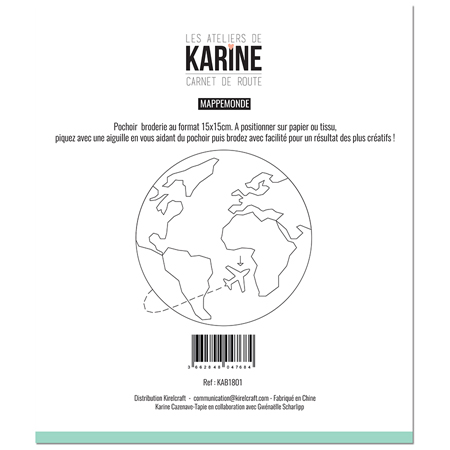 Pochoir broderie Les Ateliers de Karine Collection Carnet de Route - Mappemonde