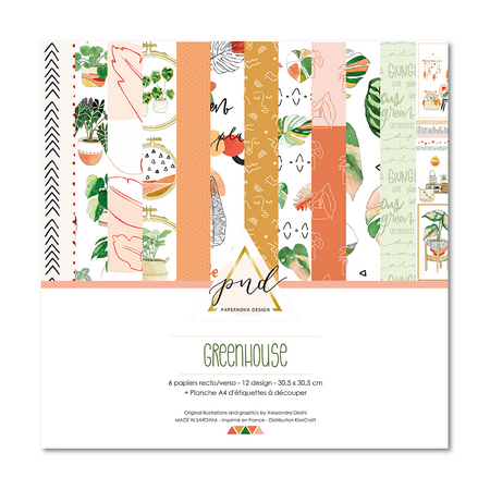 Pack papiers R/V 30.5 x 30.5 cm Papernova Design Collection Greenhouse