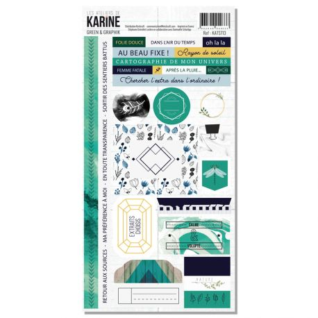 Stickers 15 x 30 Les Ateliers de Karine Collection Green & Graphik