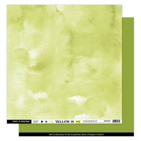 Papier uni R/V 30.5 x 30.5 cm Florilèges D. Collection Yellow - Vert feuillage