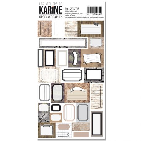 Stickers étiquettes 10 x 20 Les Ateliers de Karine Collection Green & Graphik