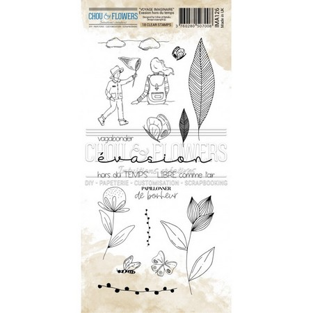 Tampon clear Chou & Flowers Collection Voyage imaginaire - Evasion hors du temps 10 x 21 cm