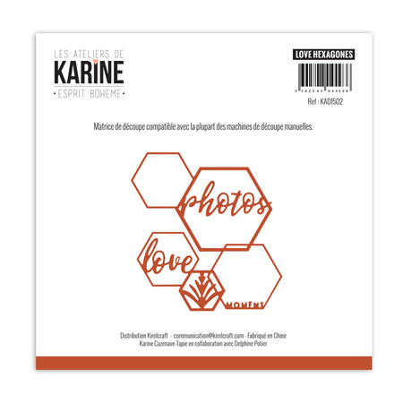 Matrice de coupe Les Ateliers de Karine Collection Esprit bohème - Love hexagones