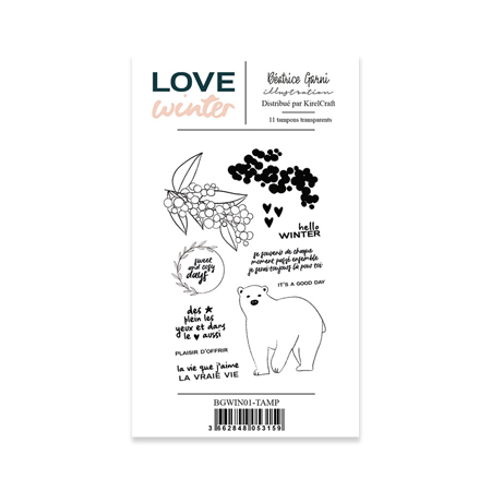Planche de tampons clear 10 x 15 cm Béatrice Garni Collection Love Winter - 1