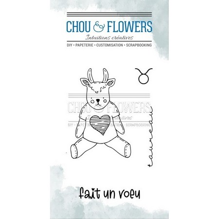 Tampon clear Chou and Flowers Collection Dans La Lune - Doudou Taureau 5 x 8 cm