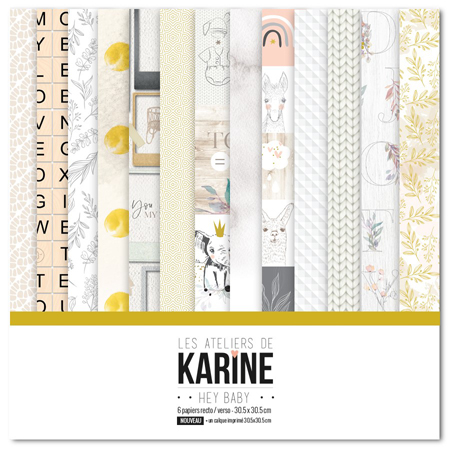 Kit papiers 30.5 x 30.5 cm Les Ateliers de Karine Collection Hey Baby